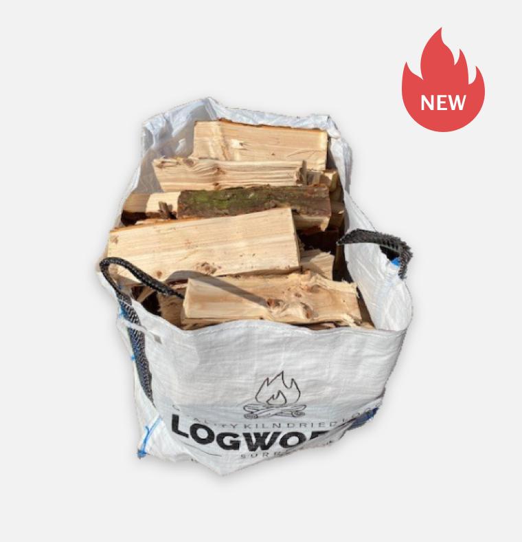 Small bulk bag of large softwood logs
